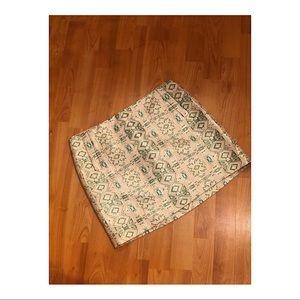 JCREW Aztec Metallic Brocade Skirt Size 10